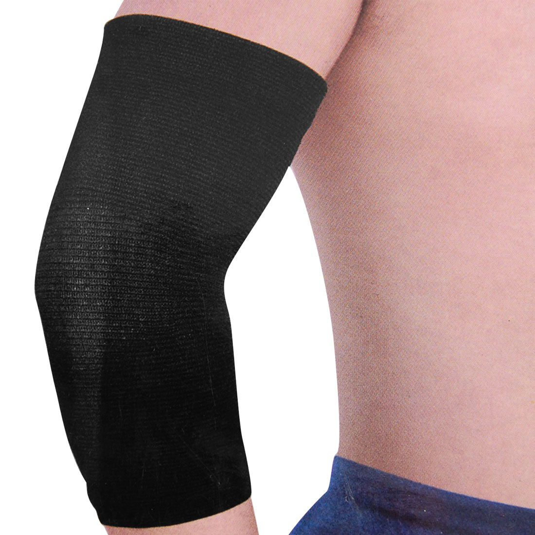 Unique Bargains Elastic Elbow Support Sleeve Protection Recovery Warm Elbow Band Brace Black