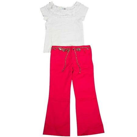 Beautiful Girl - Little Girls Short Sleeve Pant Set White Fuchsia / (Beautiful Little Girl)
