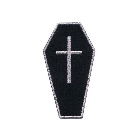 Black Coffin With Cross Patch Casket Bury Gothic Embroidered Iron On -