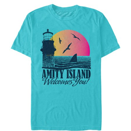 jaws men's amity island tourist welcome t-shirt (Kitty Jaws Shirt)