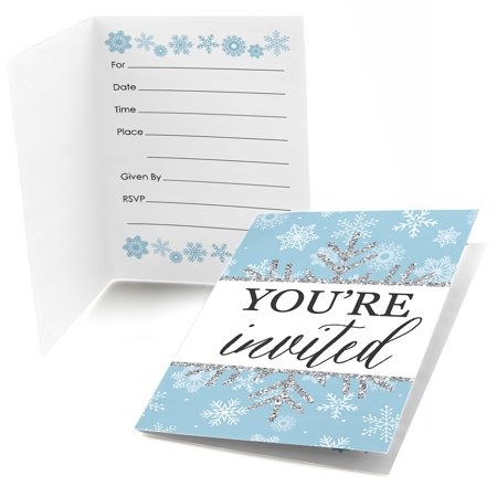 Winter Wonderland - Fill In Snowflake Holiday Party & Winter Wedding Invitations (8 count)