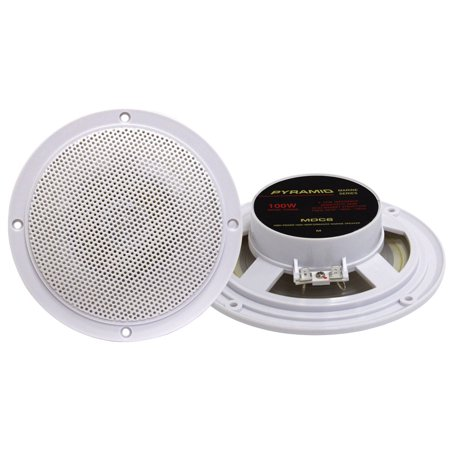 PYRAMID MDC6 - 5.25'' Marine 100 Watts Dual Cone Waterproof Stereo (Best 5.25 Marine Speakers)