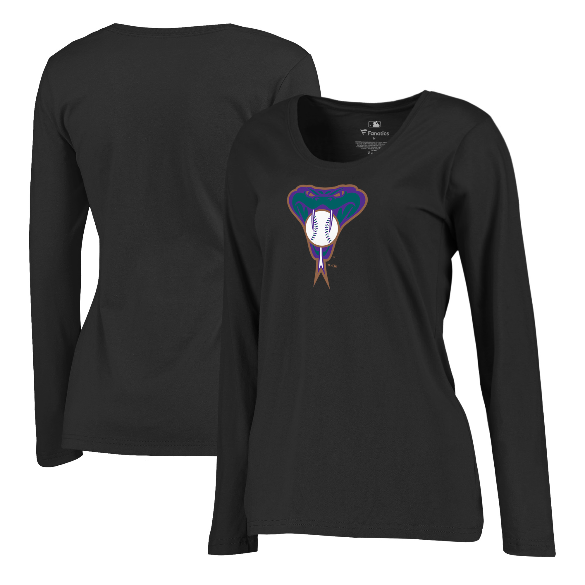 Arizona Diamondbacks Fanatics Branded Women's Plus Size Cooperstown Collection Huntington Long Sleeve T-Shirt - Black