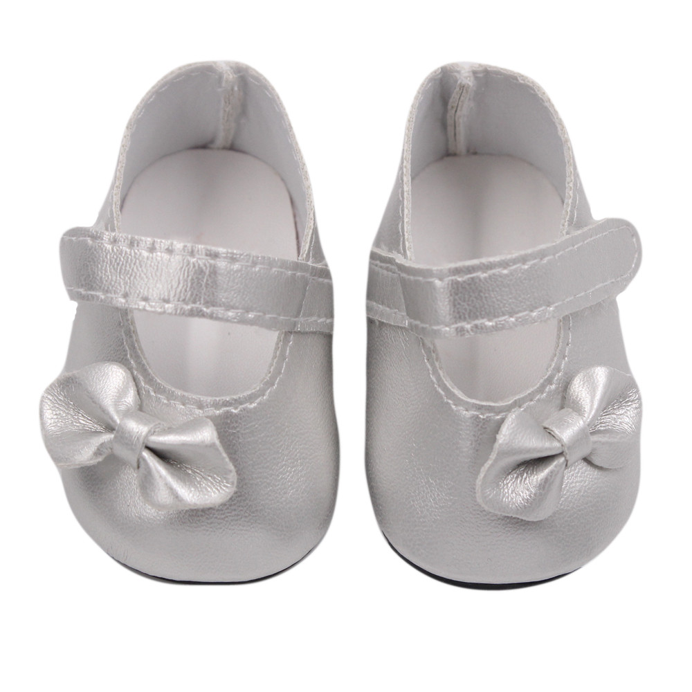 Mosunx Glitter Doll Shoes Bow Dress Shoes For 18 Inch Our Generation American Girl Doll