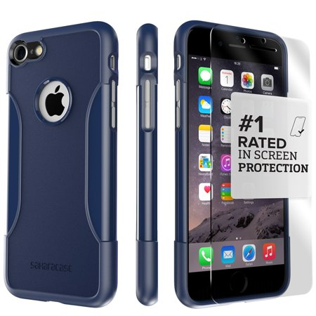 Kit Case 2 Tapes (SaharaCase iPhone 8 and 7 Classic Case, Protective Kit Bundle with ZeroDamage Tempered Glass Screen Protector ? Navy)
