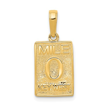 14k Yellow Solid Gold Mile 0 Key West Mile Marker Pendant for Necklace (Gold Key Pendant)