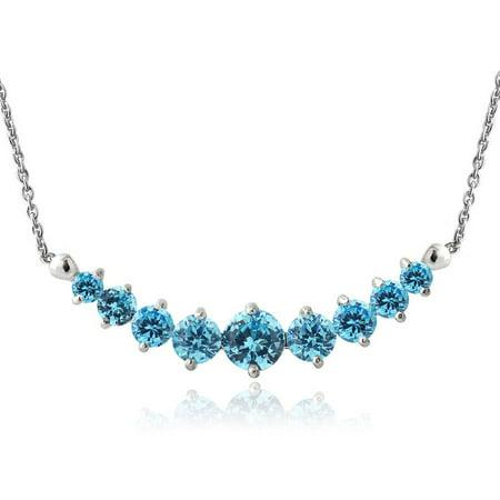 Moss Aquamarine Necklace - Aquamarine Sterling Silver Graduated Necklace