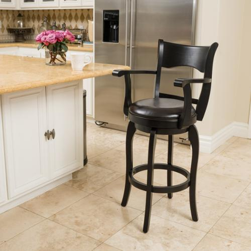 Tatum 30 Inch Espresso Bonded Leather Swivel Bar Stool With Arm