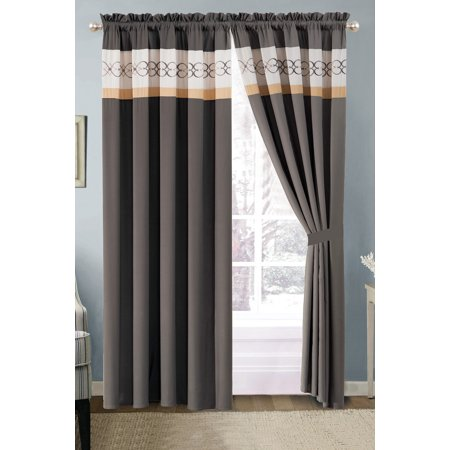 4-Pc Heart Diamond Spade Clover Floral Embroidery Curtain Set Gray Beige Coffee Valance Drape Sheer Liner
