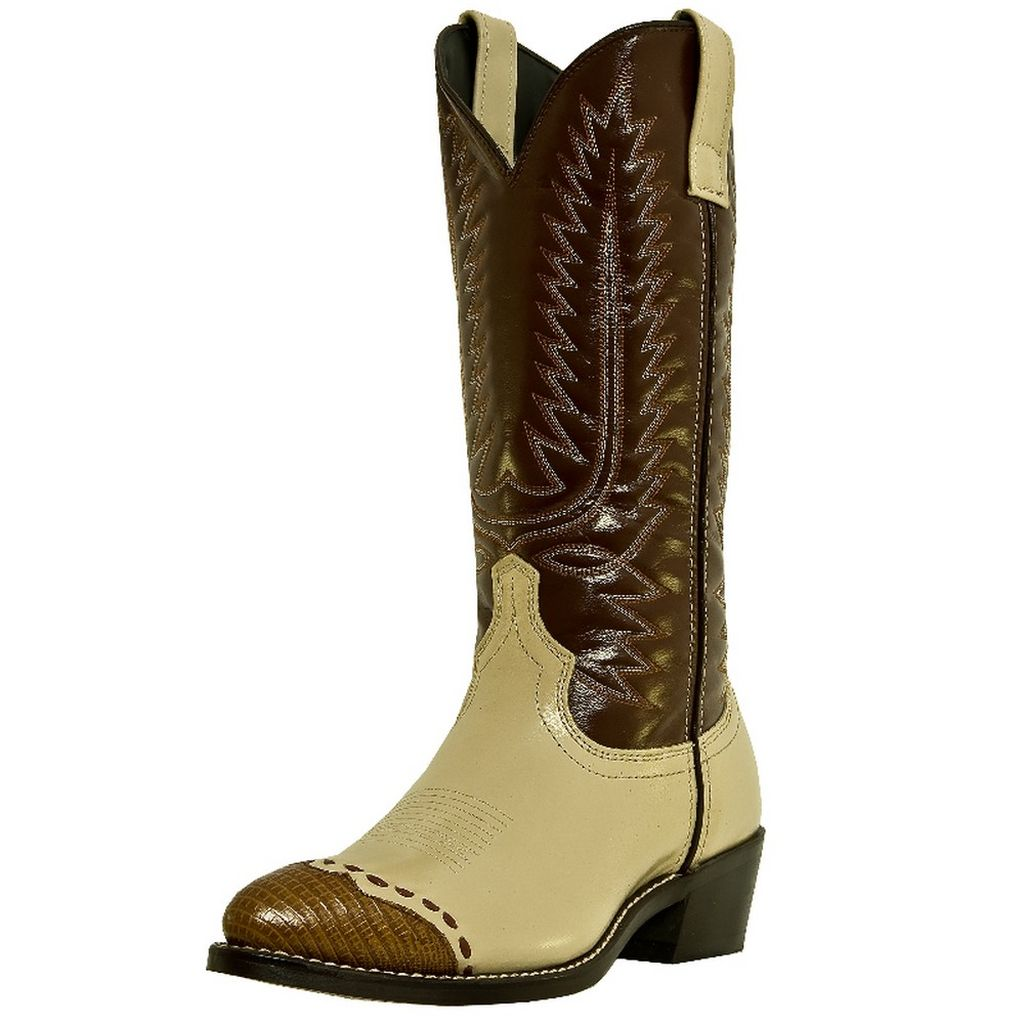 Laredo Western Boots Mens Flagstaff Lizard Wingtip Bone Brown 61161 by Laredo