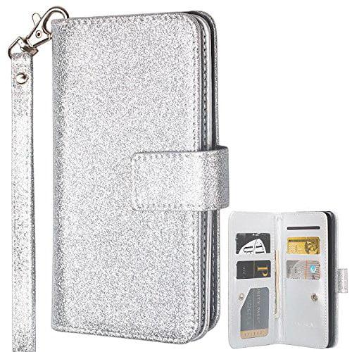 Samsung Galaxy S8 Plus Case, Glitter Leather Flip Credit Card Holder Wrist Strap Shockproof Protective Wallet Case Clutch for Samsung Galaxy S8 Plus - Rose Gold