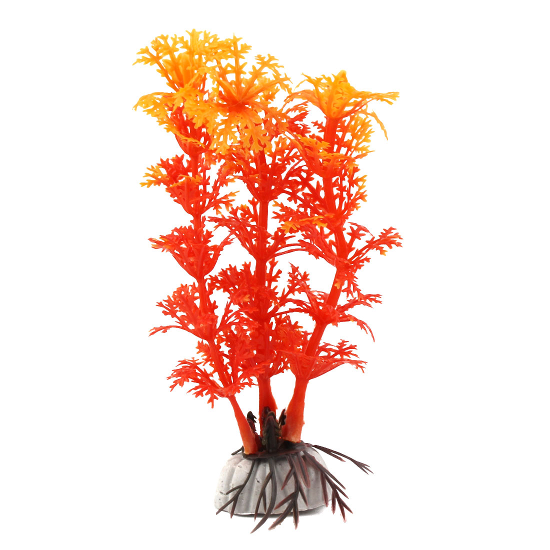 Fish Tank Plastic Manmade Emulational Grass Aquarium Plant Decor Orange Yellow