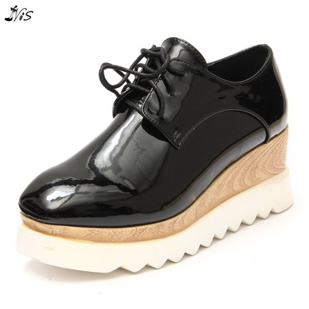 - Nis Women Casual Oxfords High Platform Flat Shoes