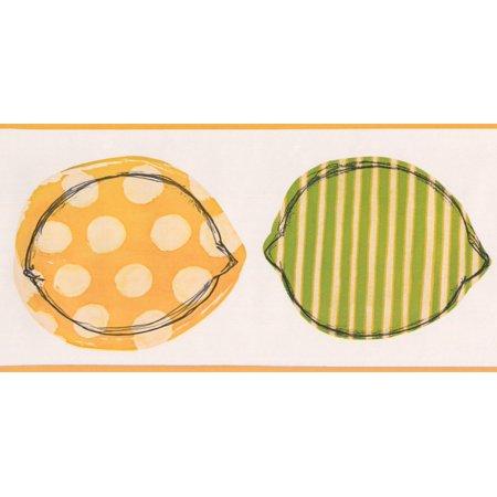 Stylized Colorful Yellow Green Lemons Wallpaper Border Retro Design, Roll 15' x 6