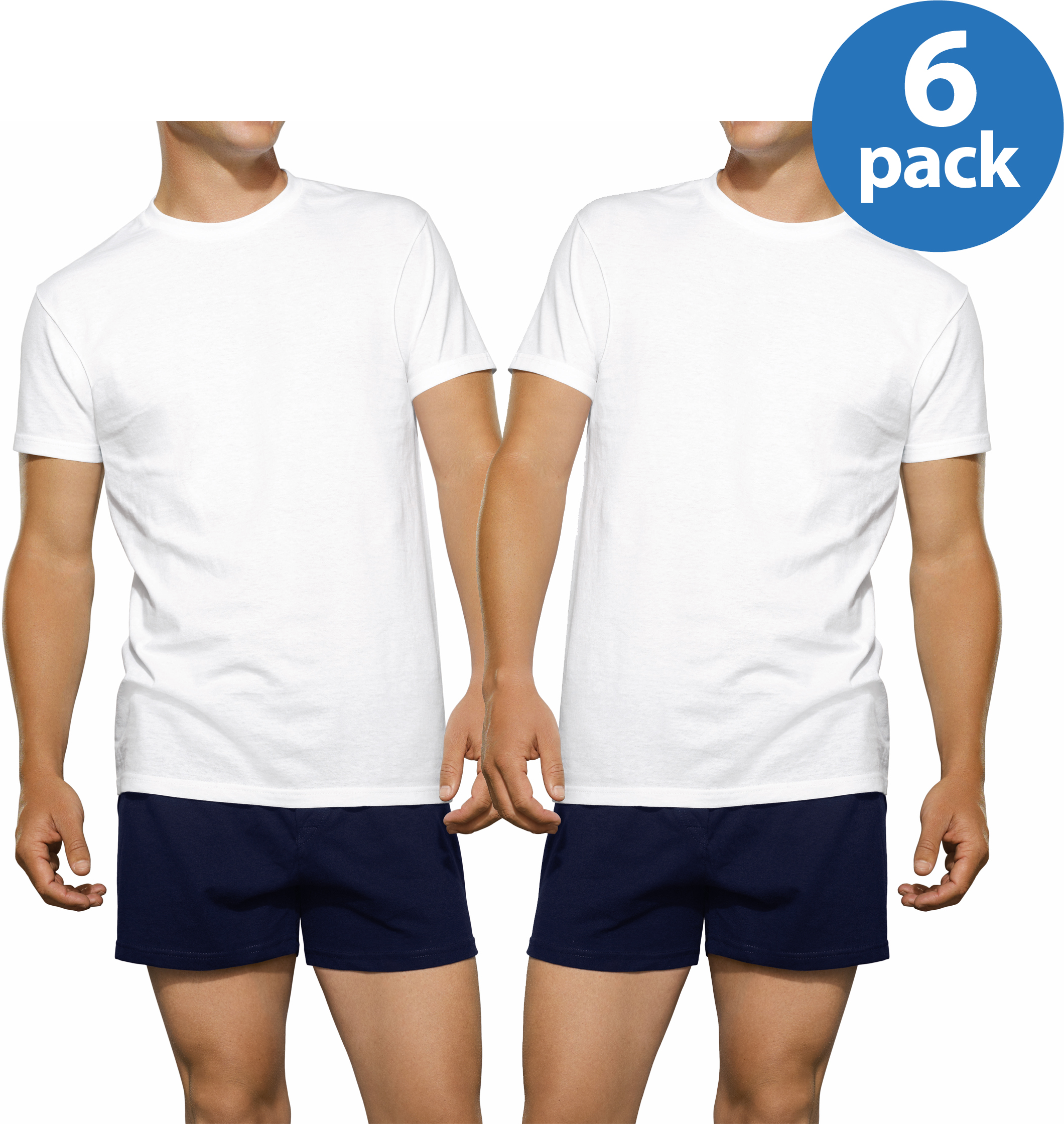 Fruit of the Loom Men's White Crew Undershirts, 6 Pack Value Bundle