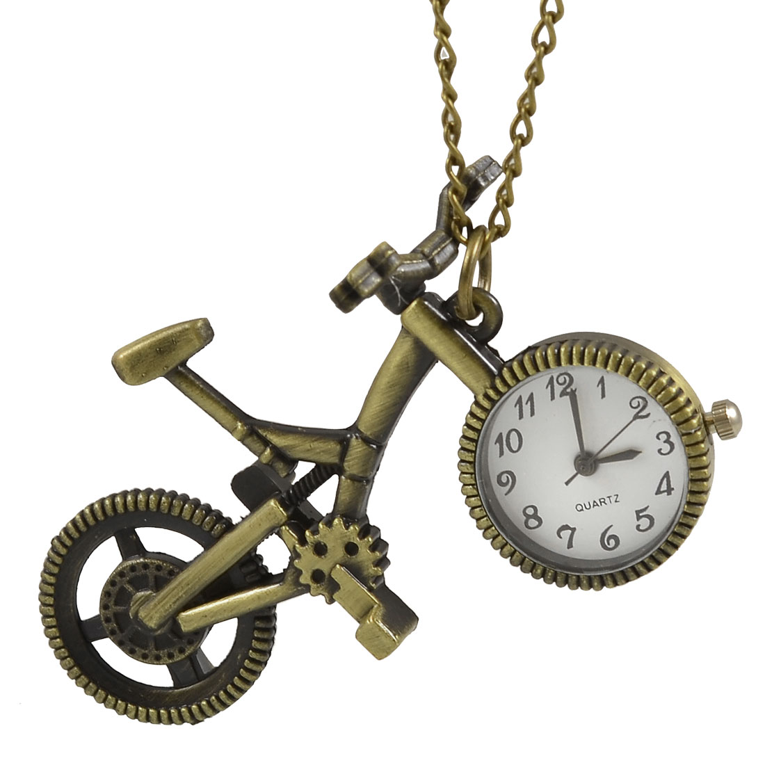 Unique Bargains Round Dial Bronze Tone Bike Pendant Lobster Clasp Necklace Watch for Lady