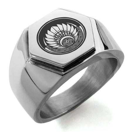 Power Rune Ring - Stainless Steel Mayan Quetzalcoatl Headdress Rune Engraved Hexagon Crest Flat Top Biker Style Polished Ring
