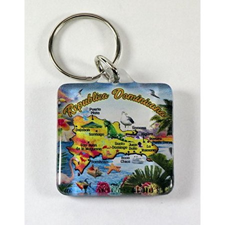 Dominican Republic Map Acrylic Rectangular Souvenir Keychain 2.5 inches X 1.5 inches (New York Keychain Souvenirs)