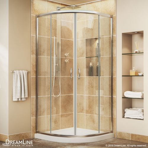 "DreamLine DL-6701-01CL Prime Frameless Sliding Shower Enclosure and Quarter Round Shower Base in White With Dimensions: W 33"" x D 33"", Glass Type: Clear"