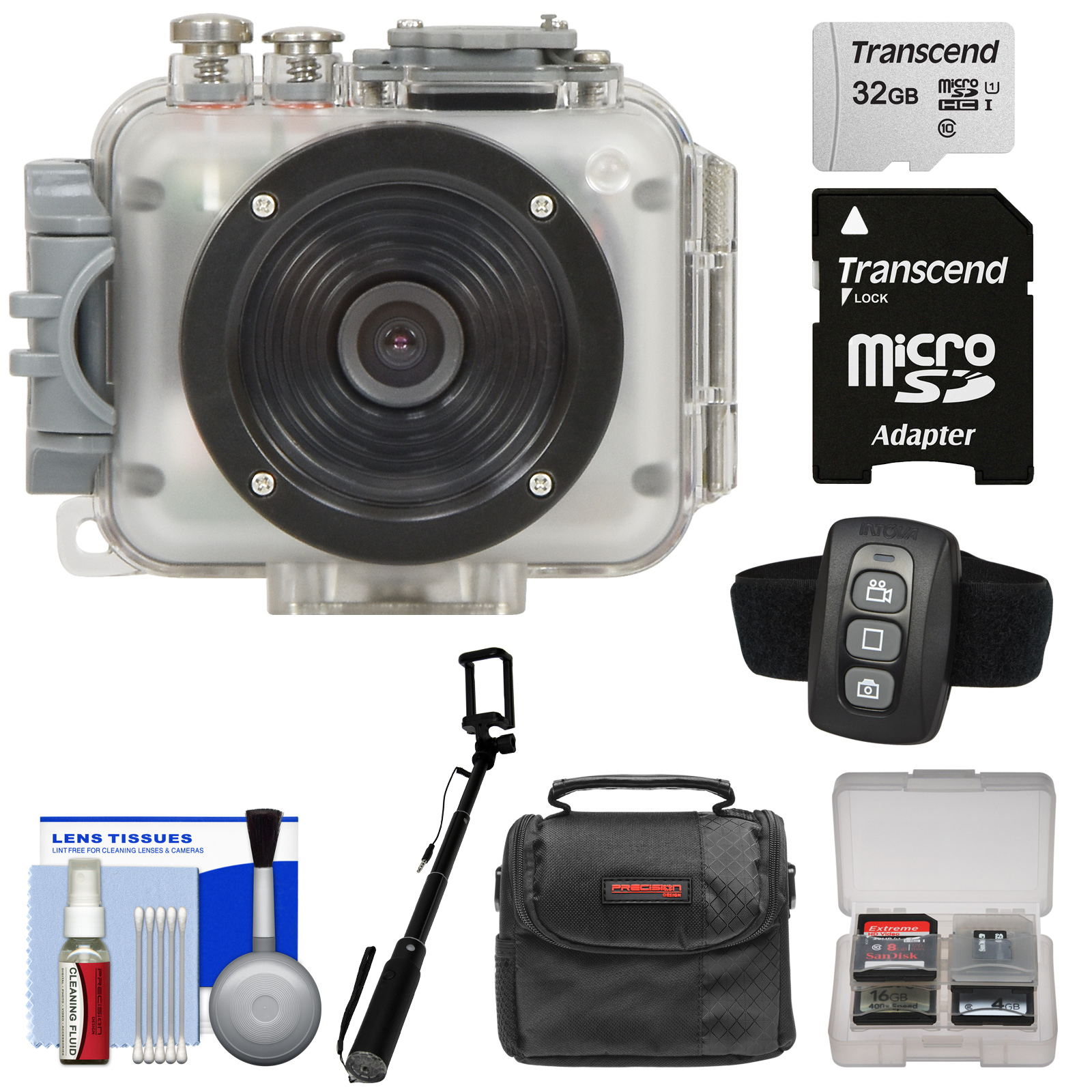 Intova Connex 1080p HD Waterproof Video Action Camera Camcorder (200 ft/ 60m) with Remote + 32GB Card + Case + Monopod Selfie Stick + Kit