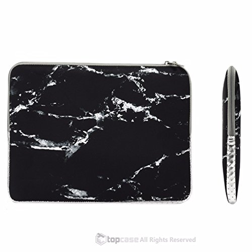 "TOP CASE - Marble Pattern Zipper Sleeve Bag Case for All Laptop 13"" 13-inch Macbook Pro with or without Retina Display / Macbook Air / Macbook Unibody / Ultrabook / Chromebook - Black"