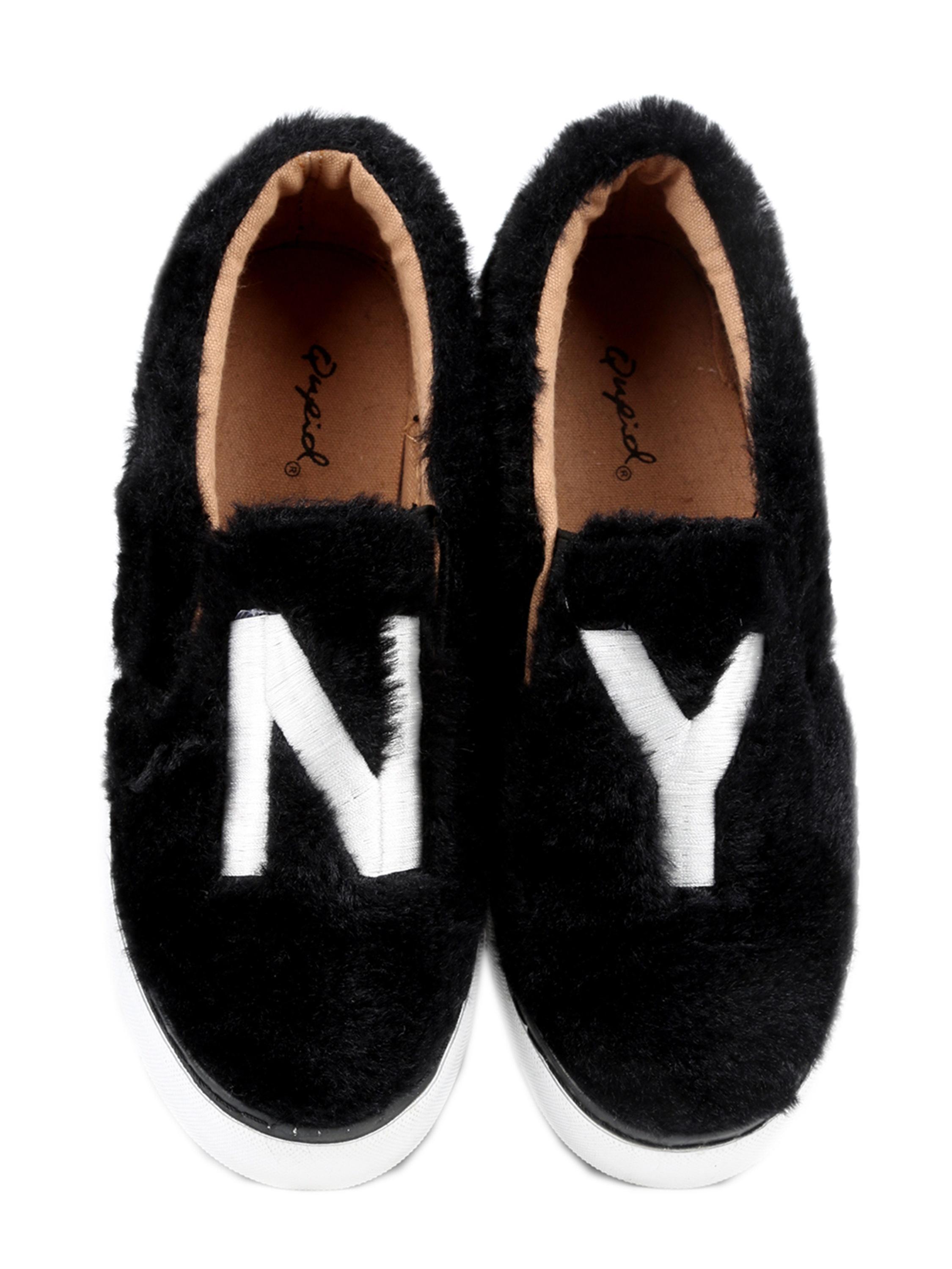 Xehar Women's Casual Fashion Fur Slip On Sneakers