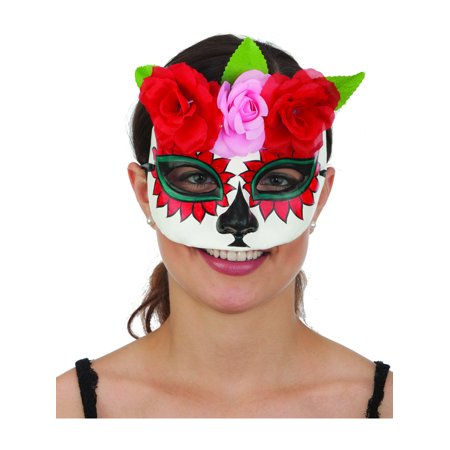Women's Dia De Los Muertos Day of the Dead Skull And Flowers Mask ()