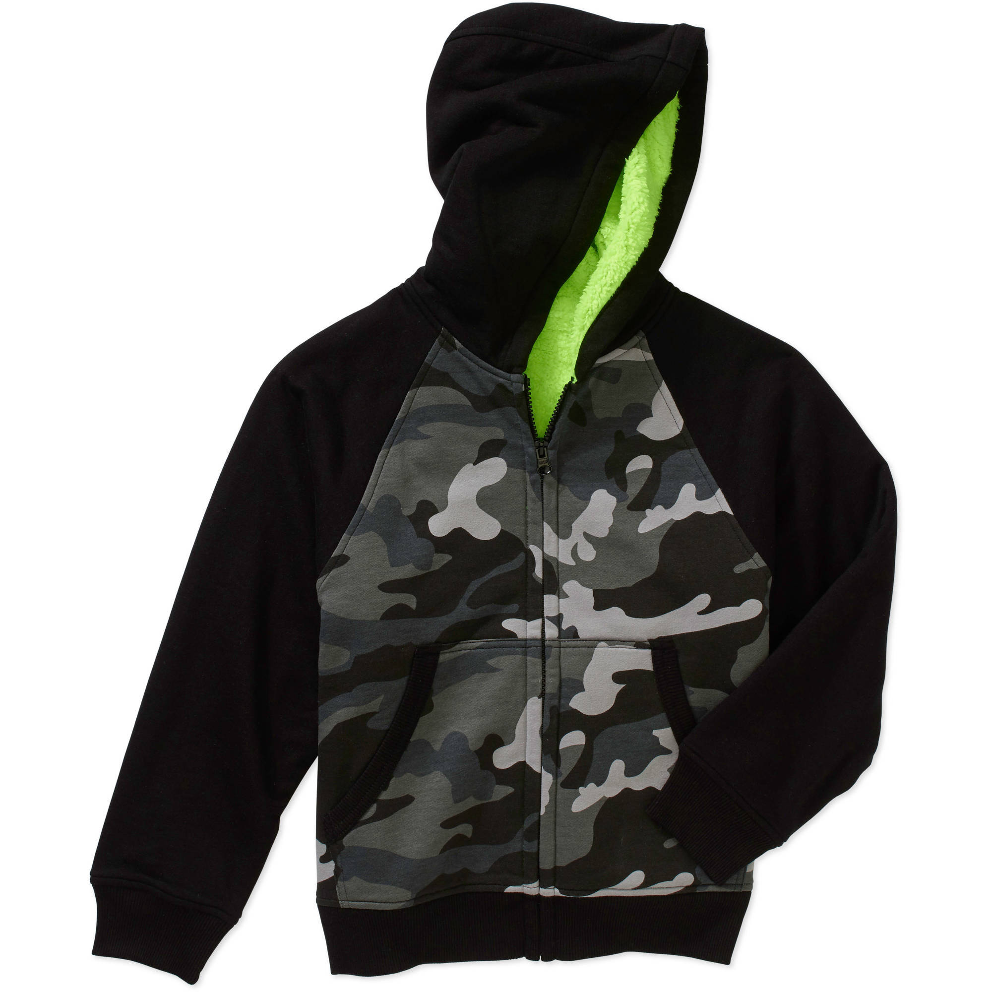 Faded Glory Boys Sherpa Hoodie, Available in Solids, Camo, and Marled