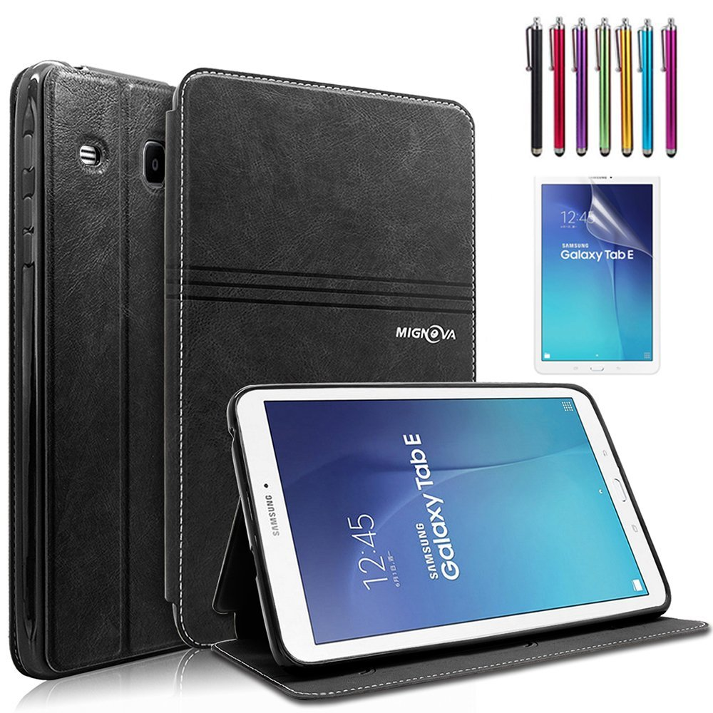 Mignova Samsung Galaxy Tab E 9.6 Case - Slim Lightweight Stand Cover for Samsung Tab E Wi-Fi / Tab E Nook / Tab E Verizon 9.6-Inch Tablet ( SM-T560 / T561 / T565 / T567V) (Black)