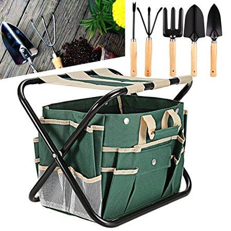 Garden Tools, 7 Piece Gardening Tools Set Folding Stool with Bag [US STOCK]