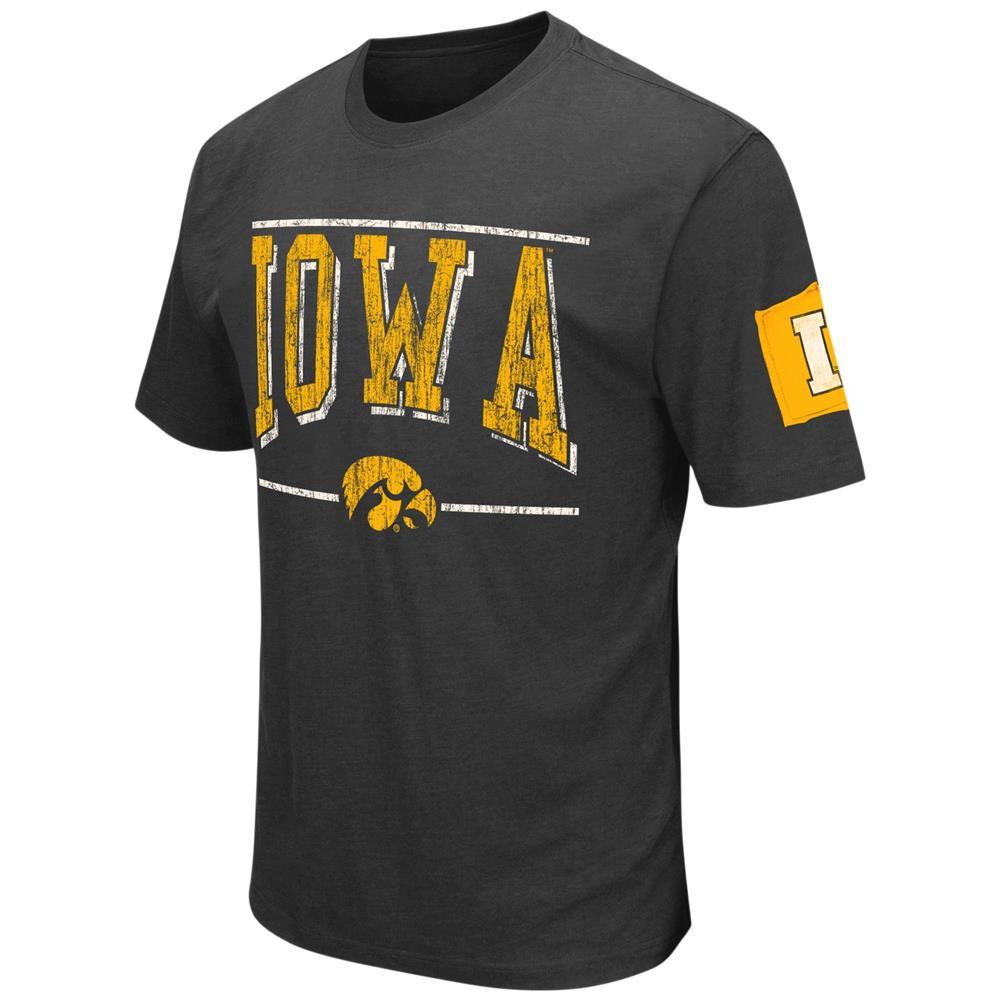 University of Iowa Hawkeyes Men's T-Shirt Short Sleeve Distressed Tee