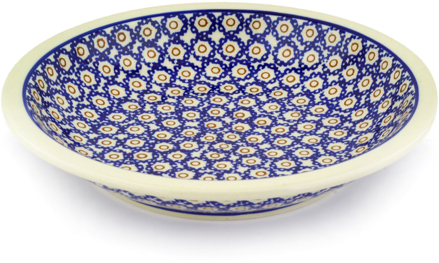 Polish Pottery 9-inch Pasta Bowl (Daisy Stamps Theme) Hand Painted in Boleslawiec, Poland + Certificate of... by Zaklady Ceramiczne