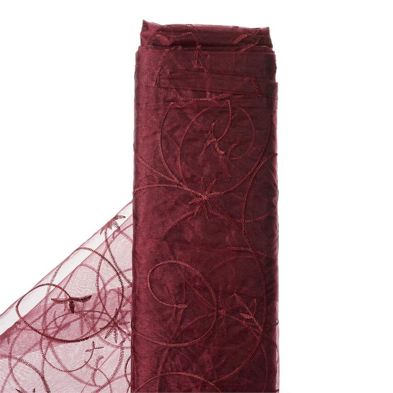 "54"" x 10 yards Embroidered Organza Fabric Bridal Bolt - Burgundy"