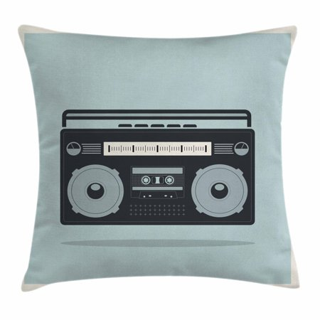 Hip Hop Throw Pillow Cushion Cover, Classic 1980s Boombox Image on Doodle Retro Background Nostalgic Urban Ghetto Theme, Decorative Square Accent Pillow Case, 24 X 24 Inches, Multicolor, by Ambesonne](1980s Theme)