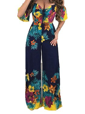 Women's Lace Up Strapless Floral Printed Short Sleeve Wide Leg Pant Romper Jumpsuit