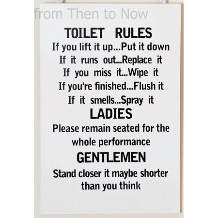 Wooden Funny Plaque Sign Toilet Rules Bathroom - Funny Rules For Halloween