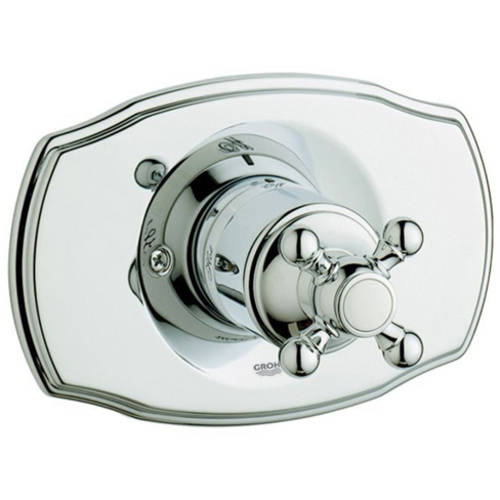 Grohe 19725000 Geneva Pressure Balance Valve Trim with Cross Handle, Available in Various Colors