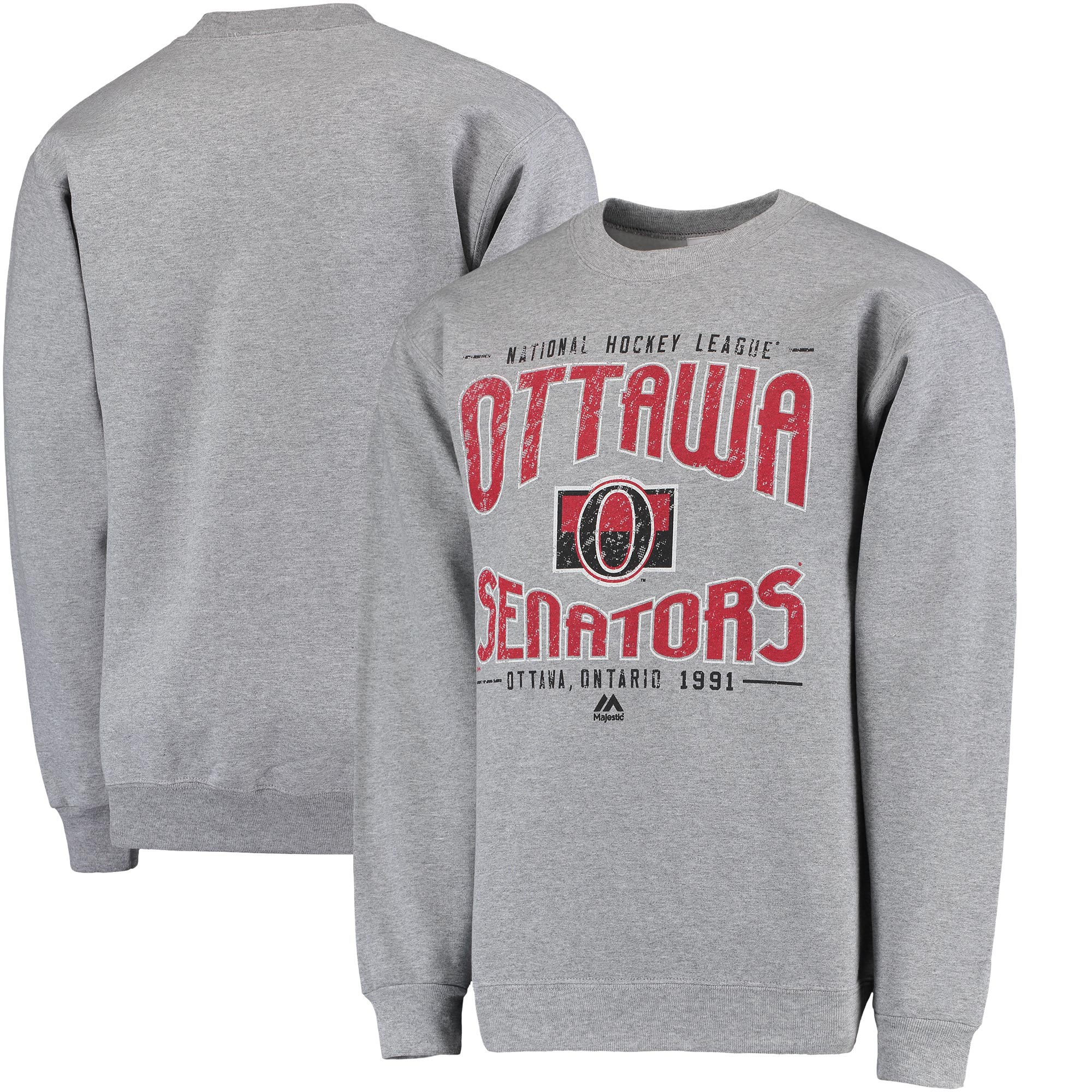 Ottawa Senators Majestic Ice Classic Pullover Sweater - Gray