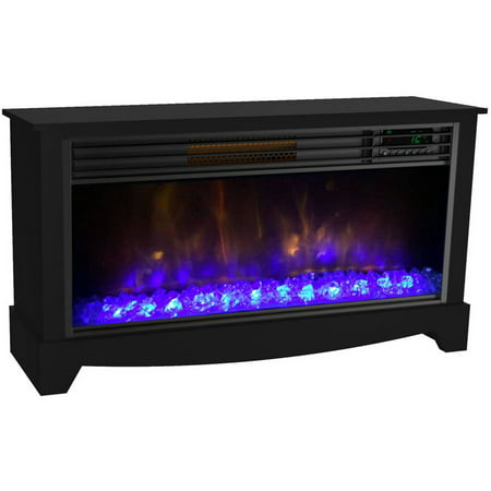 Fire Magic Infrared Burner System - LifeSmart LifeZone Electric Infrared Quartz Low Profile Media Fireplace Heater, Black Vent Free
