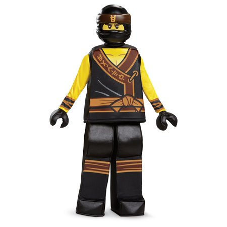 Disguise Cole Lego Ninjago Movie Prestige Costume, Yellow/Black, Large (10-12) - Diy Ninjago Costume