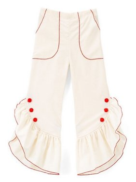 Little Girls Ivory Red Ruffled Trim Button Detail Cotton Pants