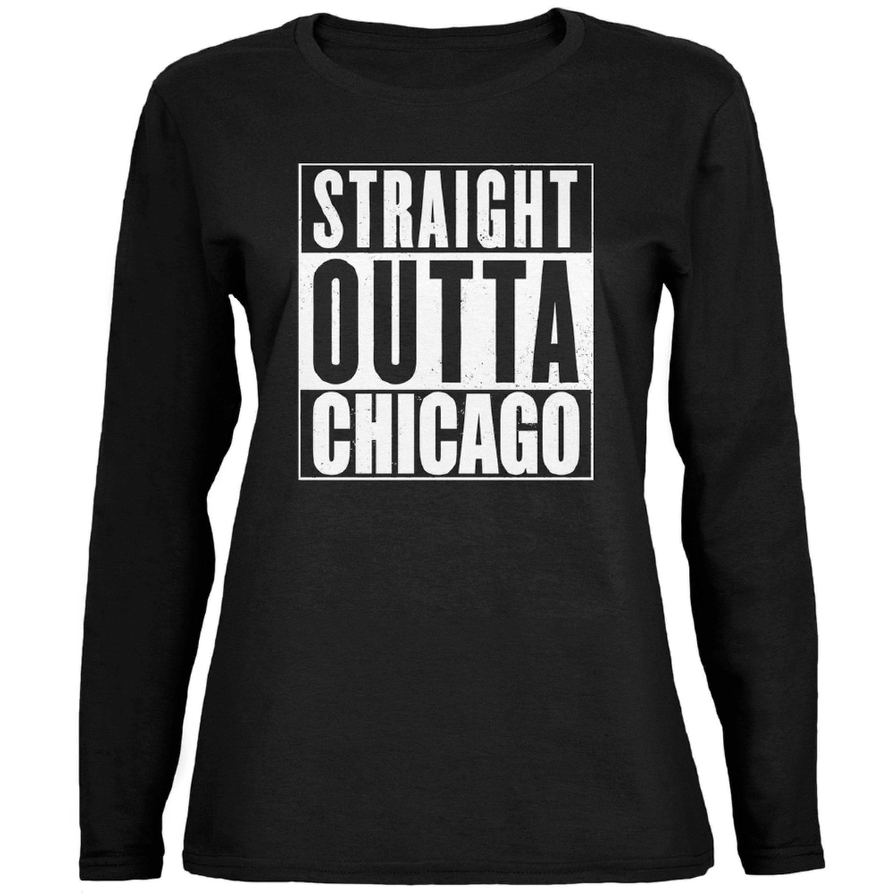 Straight Outta Chicago Black Womens Long Sleeve T-Shirt