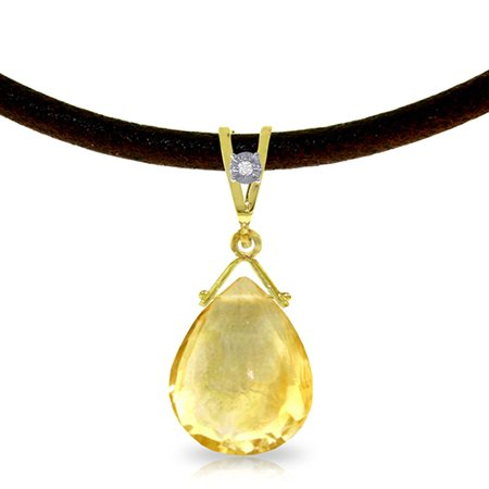 ALARRI 6.51 Carat 14K Solid Gold Attraction Citrine Diamond Necklace with 22 Inch Chain Length.