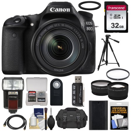 Canon EOS 80D Wi-Fi Digital SLR Camera + EF-S 18-135mm IS USM Lens with  32GB Card + Battery + Case + Filter + Tripod + Flash + Tele/Wide Lens Kit