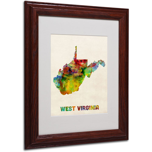 "Trademark Fine Art ""West Virginia Map"" Matted Framed Art by Michael Tompsett, Wood Frame"