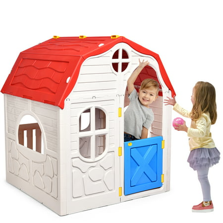 Costway Kids Cottage Playhouse Foldable Plastic Play House Now $120 (Was $230)