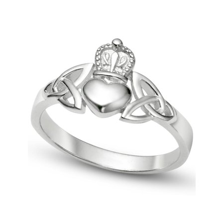 Sz 7 Sterling Silver Irish Claddagh Friendship and Love Band Celtic Ring w/ Trinity Symbols (Claddagh Puzzle Ring)