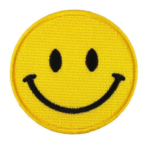 "SMILEY Happy Smile Face Yellow 2.75"" EMBROIDERED IRON ON PATCHES"