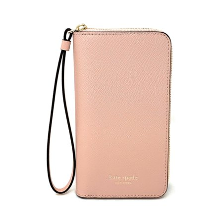 Kate Spade Black Leather (Kate Spade New York Cameron Zip Leather Wristlet for iPhone XR (Warmvellum))