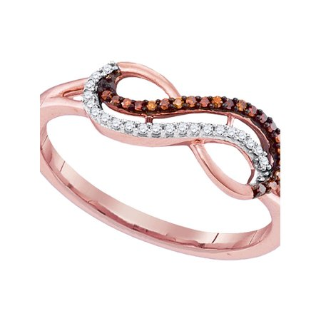 10kt Rose Gold Womens Round Red Color Enhanced Diamond Infinity Ring 1/10 Cttw - image 1 de 1
